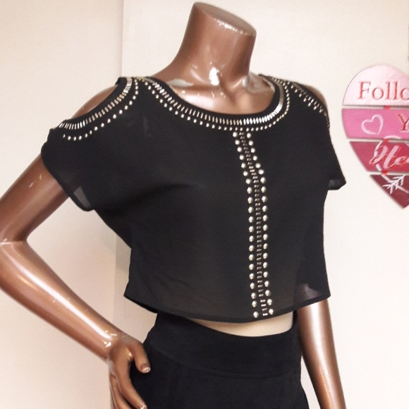 ad68311f7ae BONGO Tops | Nwot See Thru Black Chiffon Studded Crop Top | Poshmark